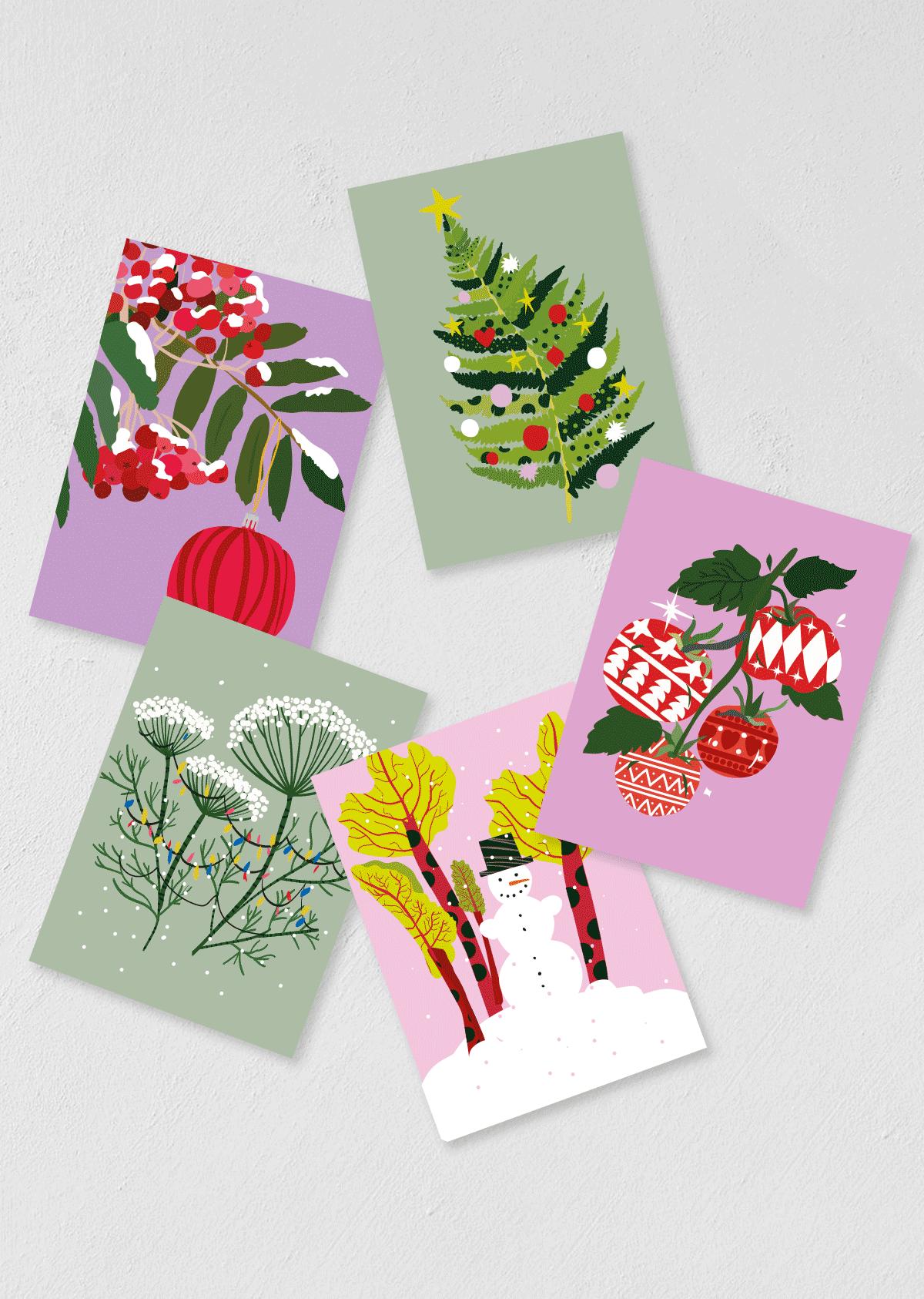 """Postkaardid """"jõulud"""" 5 tk"""
